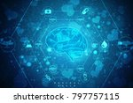 human brain 2d illustration | Shutterstock . vector #797757115