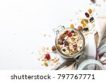 oat flakes or granola with nuts ... | Shutterstock . vector #797767771