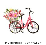 Pink Bicycle With Flowers In...