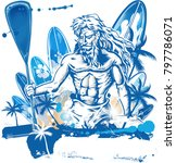 poseidon puddle surfer on... | Shutterstock .eps vector #797786071