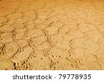 Cracked earth background. Dry and cracked soil into the dry season - stock photo