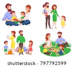 set of family during walk ... | Shutterstock . vector #797792599