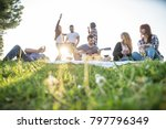 group of friends having pic nic ...   Shutterstock . vector #797796349