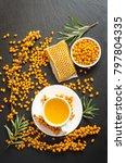 sea buckthorn  honeycomb with...   Shutterstock . vector #797804335