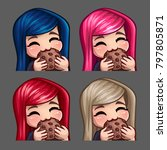emotion icons happy female eat... | Shutterstock .eps vector #797805871