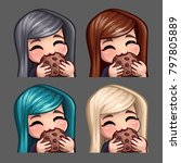 emotion icons happy female eat... | Shutterstock .eps vector #797805889