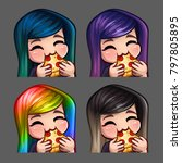 emotion icons happy female eat... | Shutterstock .eps vector #797805895