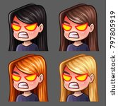 emotion icons rage female with... | Shutterstock .eps vector #797805919
