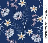 embroidery wild flowers .... | Shutterstock .eps vector #797807011