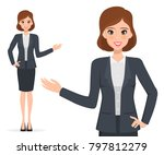 business woman presenting... | Shutterstock .eps vector #797812279