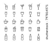 vector drink lines icons set...