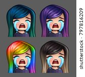 emotion icons crying female... | Shutterstock .eps vector #797816209