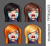emotion icons crying female... | Shutterstock .eps vector #797816215