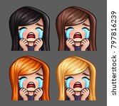 emotion icons crying female... | Shutterstock .eps vector #797816239