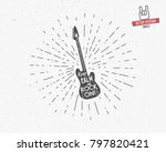 vintage guitar label with... | Shutterstock . vector #797820421