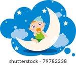 illustration of baby boy's dream | Shutterstock .eps vector #79782238