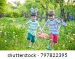 kids on easter egg hunt in... | Shutterstock . vector #797822395