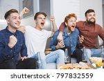 men watching sport on tv... | Shutterstock . vector #797832559