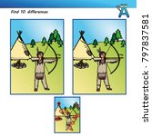 quiz find 10 differences indian | Shutterstock .eps vector #797837581