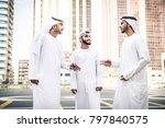 three arabic men bonding... | Shutterstock . vector #797840575