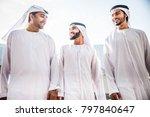 three arabic men bonding... | Shutterstock . vector #797840647