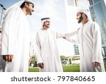 three arabic men bonding... | Shutterstock . vector #797840665