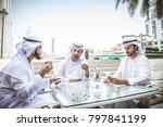 three arabic men bonding... | Shutterstock . vector #797841199