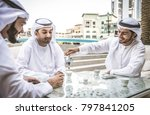 three arabic men bonding... | Shutterstock . vector #797841205