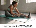 healthy woman fitness mat doing ... | Shutterstock . vector #797842249