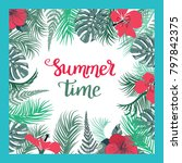tropical background with summer ... | Shutterstock .eps vector #797842375
