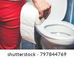 woman suffers from diarrhea... | Shutterstock . vector #797844769
