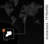 uganda on black world map. map...