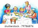 family eating dinner.picture i... | Shutterstock . vector #79786876