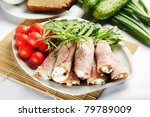 ham rolls with vegetables - stock photo