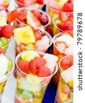 Fruit Salad Arranged In Plastic ...