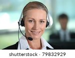 woman smiling with headset | Shutterstock . vector #79832929