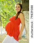 Portrait of 9 months pregnant woman in summer day - stock photo