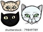 Three Hand Drawn Cat Head...