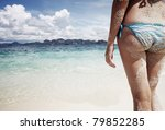 young woman with sand on a skin ... | Shutterstock . vector #79852285
