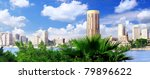 Panorama on Cairo, seafront of Nile River. Egypt. - stock photo