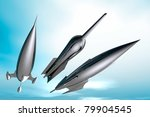 Three retro style spaceship rockets in flight - stock photo