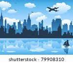 City In Blue Sky And Its...