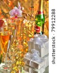 champagne in glasses  gift...   Shutterstock . vector #79912288