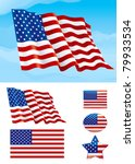 Set Of American Flag. Flag Of...