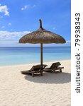 mauritius   beach umbrella | Shutterstock . vector #79938343