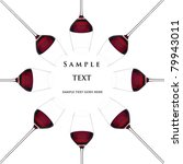 Wine Glasses With Red Wine Design With Copy Text - stock photo