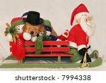 adorable golden retriever puppy in santa's sleigh - stock photo