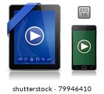 video on mobile devices. tablet ... | Shutterstock .eps vector #79946410