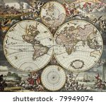 Old Map Of World Hemispheres....