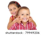 two funny smiling little... | Shutterstock . vector #79949206